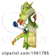 Clipart 3d Dental Dragon With Toothbrush And Sign Royalty Free CGI Illustration
