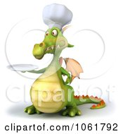 Clipart 3d Chef Dragon With A Plate Royalty Free CGI Illustration