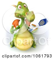 Clipart 3d Dental Dragon With A Tooth Brush 7 Royalty Free CGI Illustration
