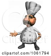 Clipart 3d Presenting Acrylic Chef 2 Royalty Free CGI Illustration
