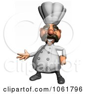 Clipart 3d Presenting Acrylic Chef 1 Royalty Free CGI Illustration