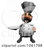 Clipart 3d Acrylic Chef With A Platter 1 Royalty Free CGI Illustration