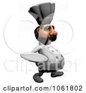 Clipart 3d Acrylic Chef With A Platter 2 Royalty Free CGI Illustration