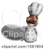 Clipart 3d Acrylic Chef With A Platter 3 Royalty Free CGI Illustration