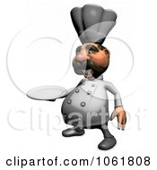 Clipart 3d Acrylic Chef With A Platter 4 Royalty Free CGI Illustration