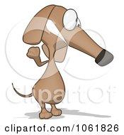 Clipart Cartoon Brown Pookie Wiener Dog Waving 3 Royalty Free CGI Illustration