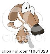 Cartoon Brown Pookie Wiener Dog Waving 2