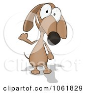 Clipart Cartoon Brown Pookie Wiener Dog Waving 1 Royalty Free CGI Illustration