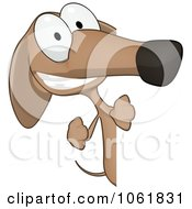Clipart Cartoon Brown Pookie Wiener Dog Sign 2 Royalty Free CGI Illustration
