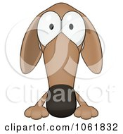 Clipart Cartoon Brown Pookie Wiener Dog Sign 1 Royalty Free CGI Illustration