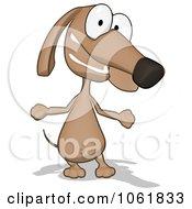 Clipart Cartoon Brown Pookie Wiener Dog Shrugging 1 Royalty Free CGI Illustration