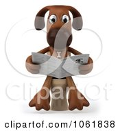 Clipart 3d Brown Pooch Reading On The Toilet 1 Royalty Free CGI Illustration