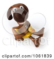 Clipart 3d Brown Pooch With A Duck Inner Tube Royalty Free CGI Illustration