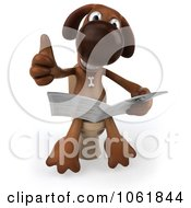 Clipart 3d Brown Pooch Reading On The Toilet 2 Royalty Free CGI Illustration