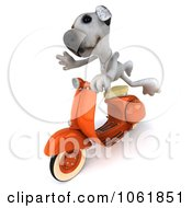 Clipart 3d Jack Russell Terrier Riding A Scooter Royalty Free CGI Illustration