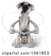 Clipart 3d Jack Russell Terrier Pooch Reading On The Toilet Royalty Free CGI Illustration