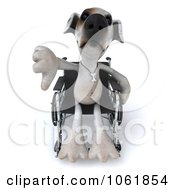 Clipart 3d Disabled Jack Russell Terrier In A Wheelchair 3 Royalty Free CGI Illustration