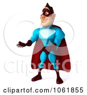 Clipart 3d Presenting Super Dude Royalty Free CGI Illustration