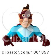Clipart 3d Pointing Super Dude With A Sign Royalty Free CGI Illustration by Julos