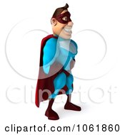 Clipart 3d Smiling Super Dude Facing Right 1 Royalty Free CGI Illustration by Julos