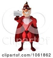 Clipart 3d Red Super Hero Guy Holding Out A Business Card Royalty Free CGI Illustration