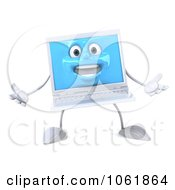 Clipart 3d White Laptop Welcoming Royalty Free CGI Illustration