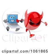 Clipart 3d White Laptop Chasing A Devil Royalty Free CGI Illustration