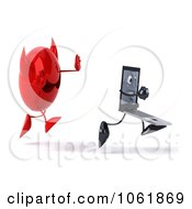 Clipart 3d Devil Chasing A Black Laptop Character Royalty Free CGI Illustration