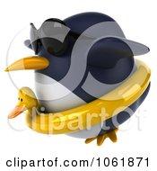 Clipart 3d Penguin Flying In An Inner Tube 2 Royalty Free CGI Illustration