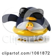 Clipart 3d Gesturing Penguin Wearing An Inner Tube 1 Royalty Free CGI Illustration