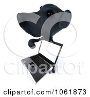 Clipart 3d Black Lab Pooch With A Laptop Royalty Free CGI Illustration