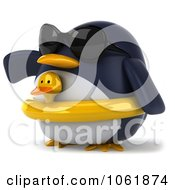Clipart 3d Gesturing Penguin Wearing An Inner Tube 2 Royalty Free CGI Illustration