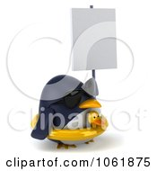 Clipart 3d Penguin With A Sign Royalty Free CGI Illustration