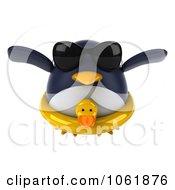 Clipart 3d Penguin Flying In An Inner Tube 1 Royalty Free CGI Illustration