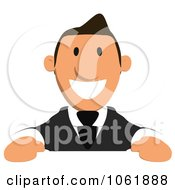 Clipart Business Toon Guy With A Sign 5 Royalty Free CGI Illustration