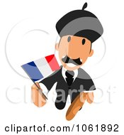 Clipart French Business Toon Guy 3 Royalty Free CGI Illustration
