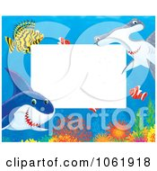 Clipart Horizontal Fish And Shark Frame Royalty Free Illustration
