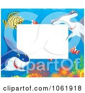 Clipart Horizontal Fish And Shark Frame Royalty Free Illustration by Alex Bannykh