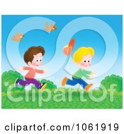 Clipart Two Boys Running Outside Royalty Free Illustration