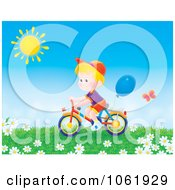 Clipart Boy Riding A Bike Outdoors Royalty Free Illustration
