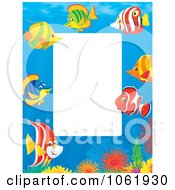 Clipart Vertical Fish And Coral Reef Frame Royalty Free Illustration by Alex Bannykh