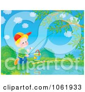 Clipart Boy Fishing In A Pond Royalty Free Illustration by Alex Bannykh