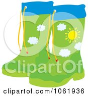 Rubber Boots With A Landscape Design - Royalty Free Vector Fashion Illustration