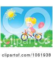 Clipart Blond Girl Riding A Bicycle Outside Royalty Free Illustration by Alex Bannykh