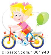 Clipart Blond Girl Riding A Bicycle Royalty Free Illustration by Alex Bannykh