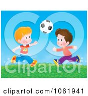 Clipart Boys Playing Soccer Outside Royalty Free Illustration