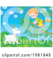 Clipart Boy In A Tree Over A Goat Royalty Free Illustration by Alex Bannykh
