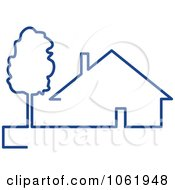 Clipart Blue House 1 Royalty Free Vector Illustration