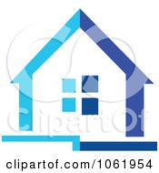 Clipart Blue House 2 Royalty Free Vector Illustration