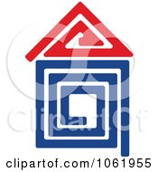 Clipart Blue And Red Home Royalty Free Vector Illustration